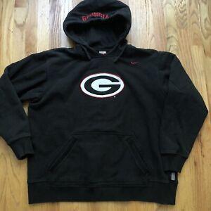 Men's Vintage Nike Team Georgia Bulldogs Black Hoodie Hooded Sweatshirt Sz XL