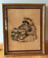 "VTG 60s 70s RACCOONS  Glass Wall Art ~ WOOD Framed ~ KITSCH RETRO ~ 19"" X 15"""
