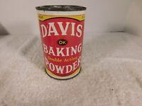 Vintage Davis Baking Powder 12 oz Tin with Lid - FREE SHIPPING