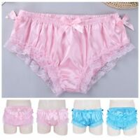 Sexy Men Satin Floral Lace Frilly Sissy Knickers Boxer Briefs G-string Underwear