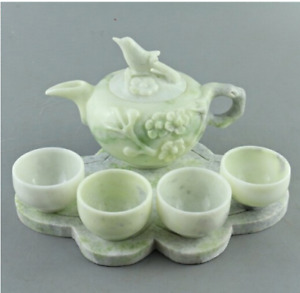 Antique Classic Natural Jade StoneTea Set Collectible