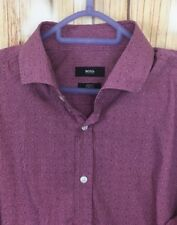 HUGO BOSS Men's Casual Long Sleeve Pink Slim Fit Stretch Shirt Embroidered Dotts