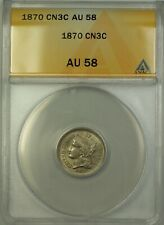 1870 3c Three Cent Nickel CN3C Coin ANACS AU-58 Better Coin