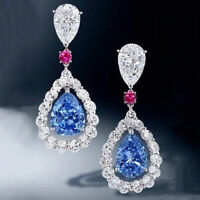 Elegant Drop Earrings for Women 925 Silver Jewelry Aquamarine A Pair/set