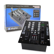 Skytec Mini 2 Channel DJ Disco Desktop Mixer With Crossfader and USB Mp3