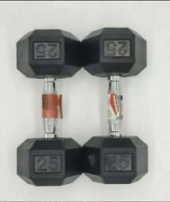 Weider (2) 25LB Dumbbells Rubber Hex Set 50LB Total FAST FREE SHIP!