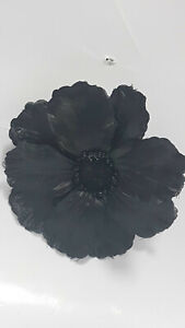 Large 12cm Black Poppy fascinator clip fixing