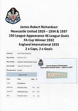 JAMES RICHARDSON NEWCASTLE UNITED 1929-34 & 37 VERY RARE ORIGINAL SIGNED CUTTING