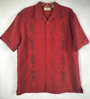 Cubavera Mens Medium Button Short Sleeve Camp Shirt Embroidered Poker Suits  C12