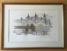 The Embankment London Lithograph Print Framed Signed