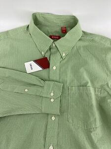 IZOD Men's Button Down Shirt Large Green Gingham NWT