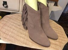 Steve Madden Womens Taupe Cian Suede Fringe Ankle Boots  Size 10M