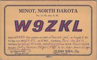 Vintage QSL HAM Radio W9ZKL Card Used Posted Minot North Dakota 1938