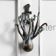 OCTOPUS on ANCHOR DOOR KNOCKER Green Patina Metal Doorknocker Ocean Nature