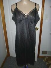 Vintage L'Eggs Black Full Slip Chemise Petticoat Lingerie Nightie Sz 38