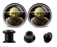 """PAIR-Starwars Yoda Acrylic Screw On Stash Plugs 14mm/9/16"""" Gauge Body Jewelry"""