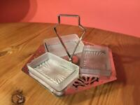 Vintage EPNS Art Deco Three Glass Section Condiment Serving Tray with Handle