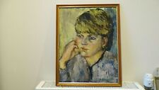 """Vintage Portrait  lady """" Helen """" Oil painting by Victoria Kauffmann 19 x 15 inch"""