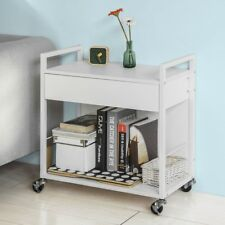 SoBuy® Wood Kitchen Serving Trolley Storage Cart with Drawer White,FKW50-W,UK