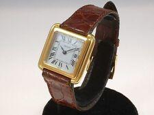 Polierte quadratische Armbanduhren mit Armband aus echtem Leder