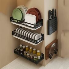 Wall Mount Metal Bracket Shelves Spice Jar Rack Kitchen Storage Shelf Organizer