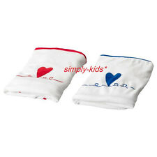 Ikea Baby Nursery Changing table pad COVERS set of 2 white with blue red heart