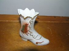 Vintage Japan Small White Porcelain Victorian Lady Shoe with Painted Fall Leaf