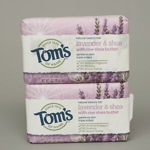 Tom's Of Maine Lavender w/ Raw Shea Butter Beauty Bar 5oz Lot of 2