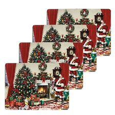 Christmas Tableware 4 Pack Corked Back Placemats - Santa by the Fire