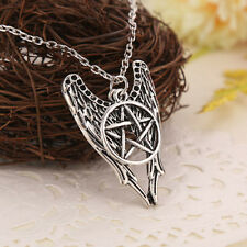 Hot Supernatural Pentagram Castiel Wing Angel Wicca Talisman Vintage Necklace