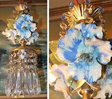 Blue Flower chandelier Swag vintage lamp Porcelain Capodimonte Beaded Brass