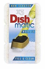 3X HEAVY DUTY WHITE DISHMATIC SPONGE SCOURER REPLACEMENT REFILL HEAD NEW