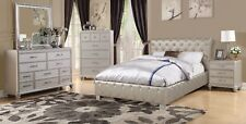 Bedroom 4pc Luxury Cal king Size Bed Set Silver Faux Leather Dresser Mirror NS