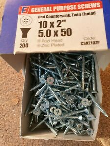 10 x 2 (5mm x 50mm) Pozi Countersunk Twin Thread