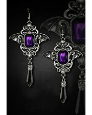 Restyle Ohrringe Vampire Bat Wings Purple Gothic Steampunk Flügel Nugoth Earring