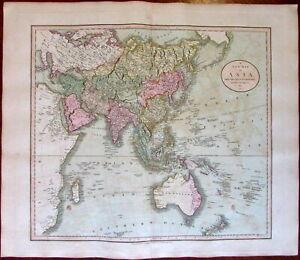 Asia Arabia India China Alaska New Holland 1811 John Cary lovely large old map