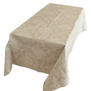 Ivory Damask Plastic Tablecloth/ PVC Material with Nonslip Flannel Backing