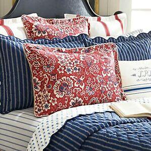 Ralph Lauren Euro Pillow Sham 'Villa Martine' Red Ticking Stripe NEW in Package