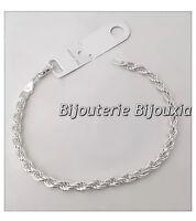 Bracelet Maille Corde Argent Massif 925/1000 Rhodié Bijoux Femme