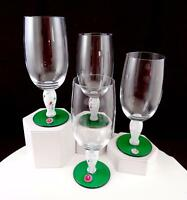 """ROMANIAN CRYSTAL 4 PC SPATTER STEM GREEN BASE 7 1/8"""" WATER GOBLETS WITH STICKERS"""