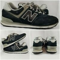 New Balance 574 Black Suede Leather Running Sneaker Shoes Mens Sz 12