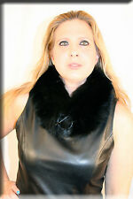New Black Fox Fur Collar or Scarf with Toggle Closure - Efurs4less