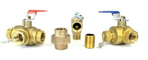 """NEW 3/4"""" Tankless Water Heater Isolation Valve Kit with Pressure Relief Valve"""