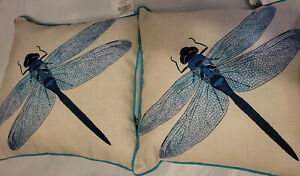 Set of 2 Outdoor Throw Toss Pillow Dragonfly Teal 16x16 Patio