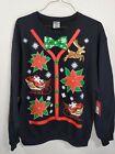 Ugly Christmas Sweater Sweatshirt Black Poinsettia Bow Tie Size Large NWT
