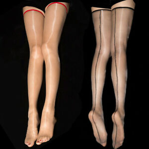 Women Ladies Ultra Thin Sheer See Through Shiny Glossy Thigh High Long Stockings