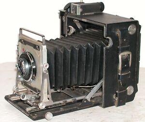 Antique Graflex Speed Graphic 4x5 Camera Optar 135mm f4.5 Lens Kalart Finder