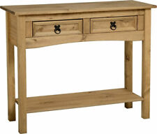 Corona Distressed Solid Waxed Pine 2 Drawer Console Table Mexican Furniture