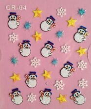 Nail Art 3D Stickers Glitter Decals Snowman Snowflakes Stars Holidays CR04
