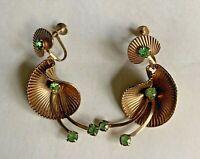 Vintage Gold Tone Crystal Green Rhinestone Shell Drop Dangle Screw On Earrings